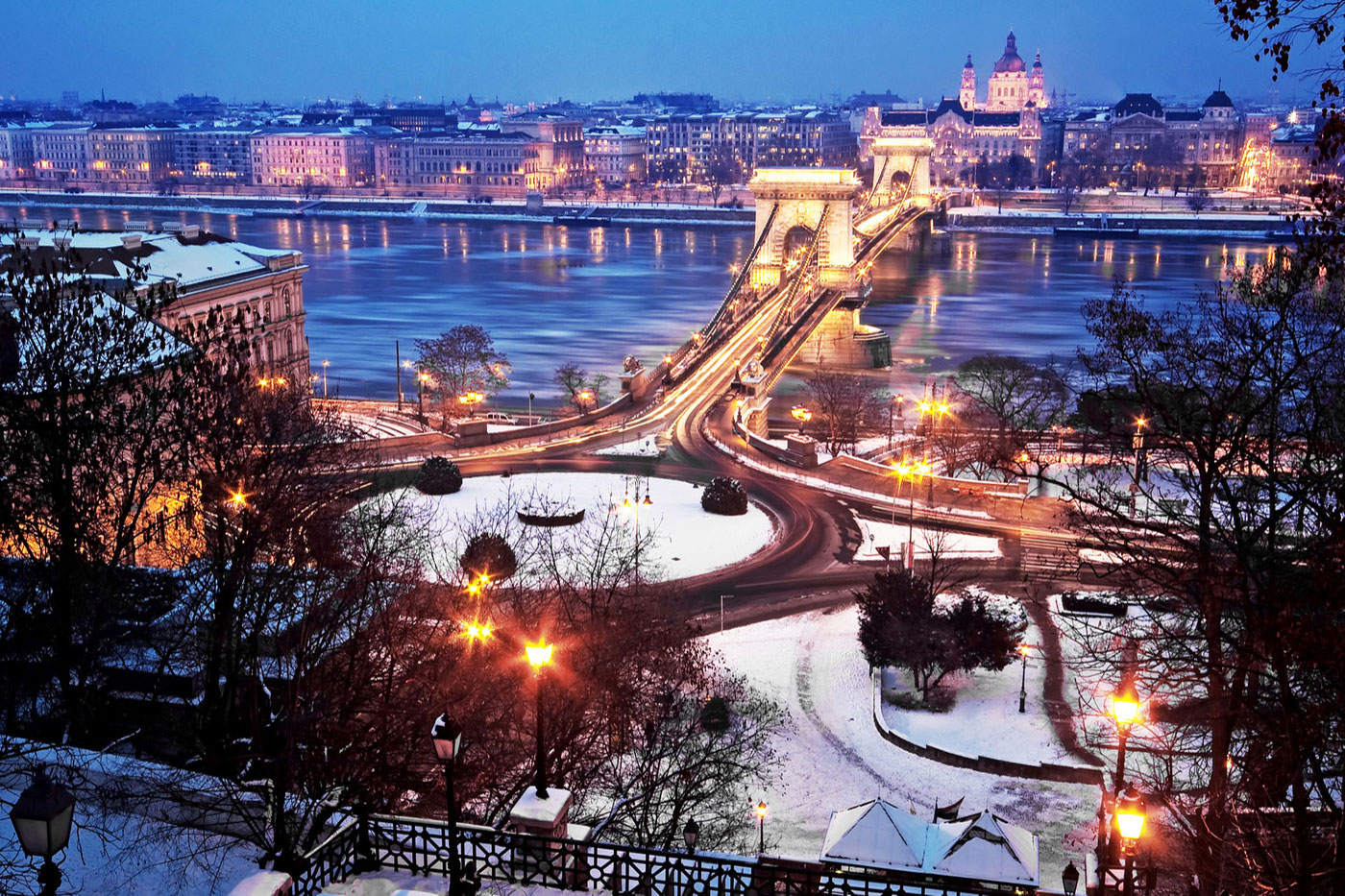 Wonderful view over Budapest at night with snow